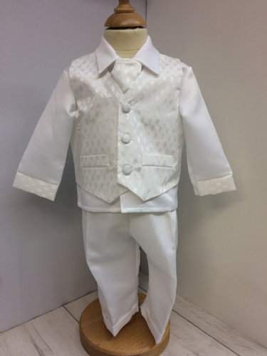 White Four Piece Christening Suit